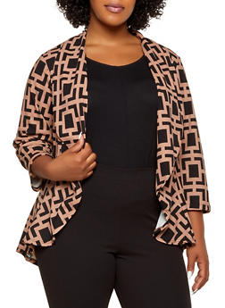 Plus Size Printed High Low Blazer - 1802020621065