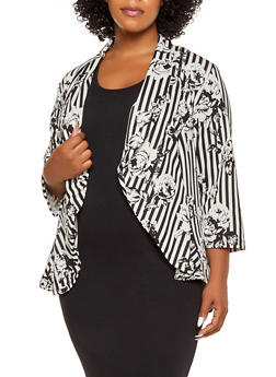 Plus Size Floral Striped High Low Blazer - 1802020621071