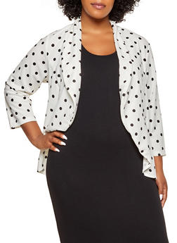 Plus Size Polka Dot High Low Blazer - 1802020621072