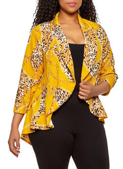 Plus Size Status Animal Print High Low Blazer - 1802020621073