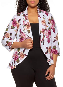 Plus Size Floral High Low Blazer - 1802020621074