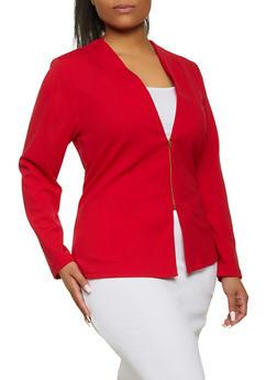 Plus Size Zip Blazer - 1802020621875