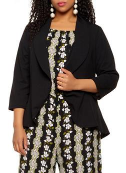 Plus Size High Low Crepe Knit Blazer - 1802020623051