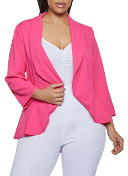 Plus Size High Low Crepe Knit Blazer - 1802020623051