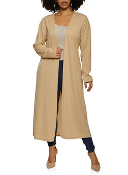 Plus Size Crepe Knit Duster - 1802020623445