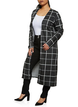 Plus Size Plaid Duster - 1802020629867