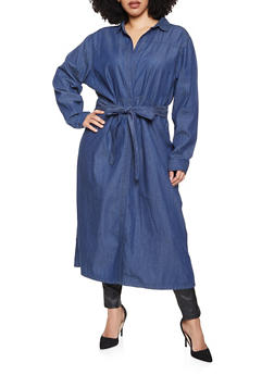 Plus Size Tie Waist Chambray Duster - 1802038340114