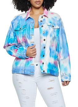 Plus Size Tie Dye Jean Jacket - 1802038340115