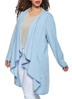 Plus Size Chambray Drape Front Duster - 1802038342011