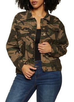 Plus Size Camo Twill Jacket - 1802038342019