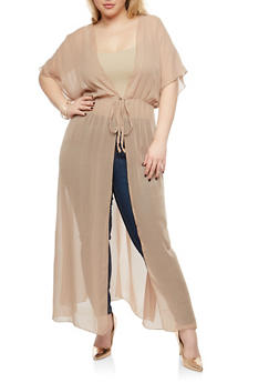 Plus Size Sheer Tie Front Duster - 1802051060076