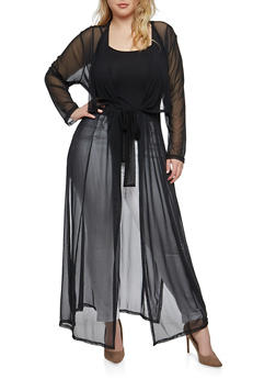 Plus Size Belted Mesh Duster - BLACK - 1802051060926