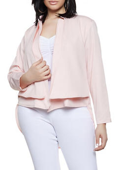Plus Size Layered Flyaway Blazer - 1802051064735