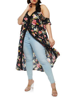 Plus Size Floral Off the Shoulder Maxi Top - 1802051069554