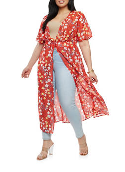 Plus Size Floral Duster - 1802056125615