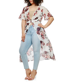 Plus Size Printed Button Front Duster - 1802056125617