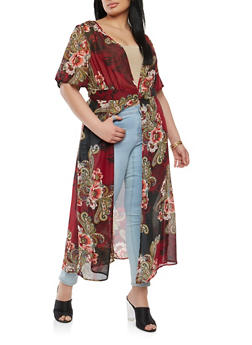 Plus Size Printed Duster - 1802056125618
