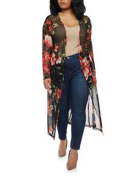 Plus Size Floral Mesh Duster - 1802058750086
