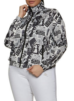 Plus Size Newspaper Print Windbreaker Track Jacket - 1802062121890