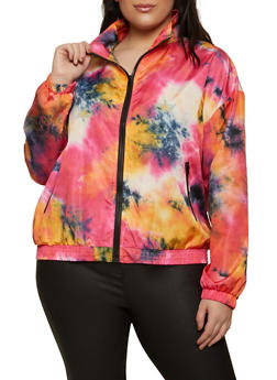 Plus Size Tie Dye Windbreaker Jacket - 1802062121891
