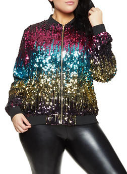 Plus Size Multi Color Sequin Bomber Jacket - 1802062122210