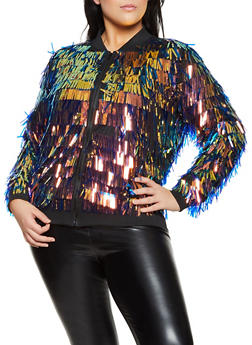 Plus Size Sequin Mesh Bomber Jacket - 1802062122400