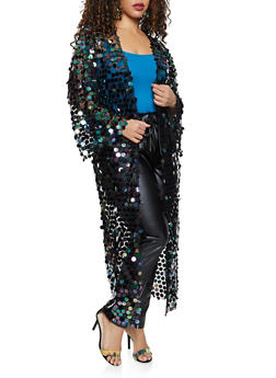 Plus Size Sequin Mesh Duster - 1802062122475