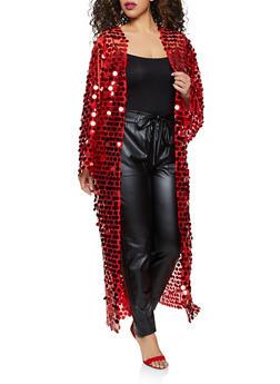 Plus Size Sequin Mesh Duster - 1802062122475