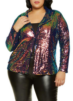 Plus Size Sequin Blazer - 1802062122500