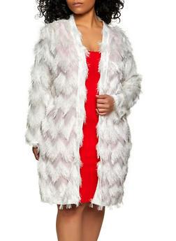 Plus Size Eyelash Knit Duster - 1802062127502