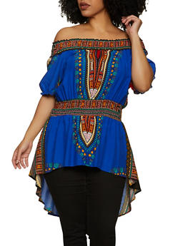Plus Size Printed High Low Off the Shoulder Top - 1802062129001