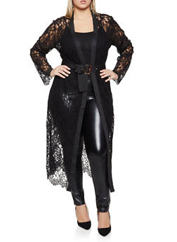 Plus Size Ribbed Trim Lace Duster - 1802062129215