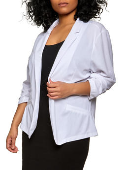 Plus Size Ruched Sleeve Open Front Blazer - 1802062701039