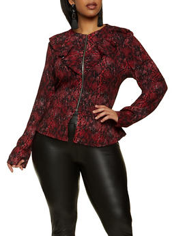 Plus Size Printed Ruffle Peplum Jacket - 1802062703000