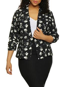 Plus Size Lightweight Printed Blazer - BLACK - 1802062703151