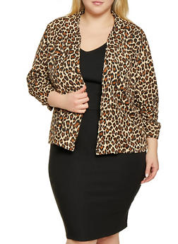 Plus Size Lightweight Printed Blazer - 1802062703151