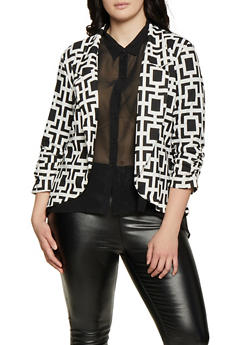 Plus Size Printed Ruched Sleeve Blazer - IVORY - 1802062703152