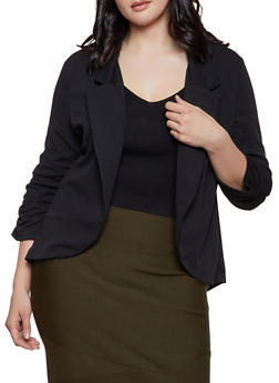 Plus Size Textured Knit Ruched Sleeve Blazer - 1802062703153
