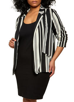 Plus Size Ruched Sleeve Striped Blazer - 1802062709903
