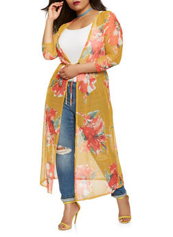 Plus Size Floral Mesh Duster - 1802074014127