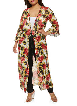 Plus Size Printed Bell Sleeve Duster - 1802074015343