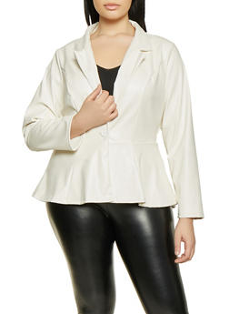 Plus Size One Button Peplum Blazer - 1802074015754