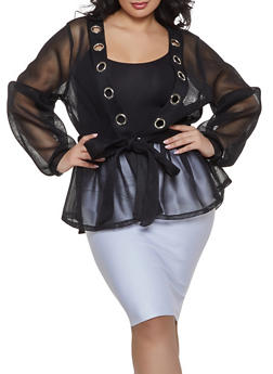 Plus Size Belted Mesh Jacket - 1802074280450
