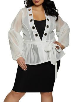 Plus Size Belted Mesh Jacket - 1802074280450