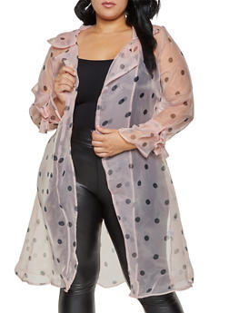 Plus Size Polka Dot Organza Duster - 1802074731155