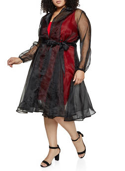 Plus Size Belted Organza Jacket - 1802074731158