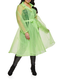 Plus Size Belted Organza Jacket - LIME - 1802074731158