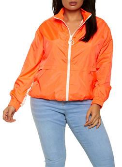 Plus Size O Ring Zip Windbreaker Jacket - 1802075170054