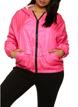 Plus Size Hooded Nylon Windbreaker Jacket - 1802075170060