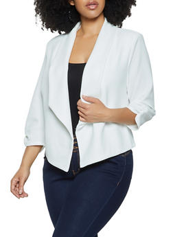 Plus Size Ruched Sleeve Collared Blazer - 1802075221047